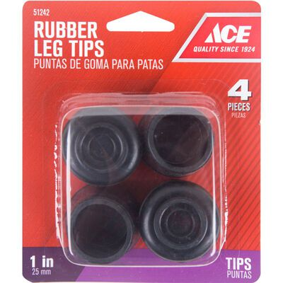 Ace Rubber Round Leg Tip Black 1 in. W 4 pk