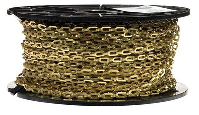 Campbell Chain Single Jack Safety/Plumber Chain 200 ft. L x 13/64 in. Dia. No. 1/0 Gold Brass