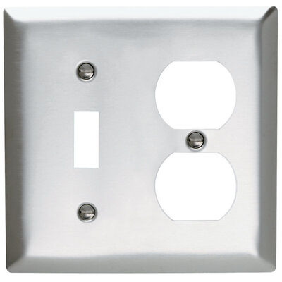 Pass & Seymour 2 gang Silver Stainless Steel Toggle/Duplex Wall Plate 1 pk