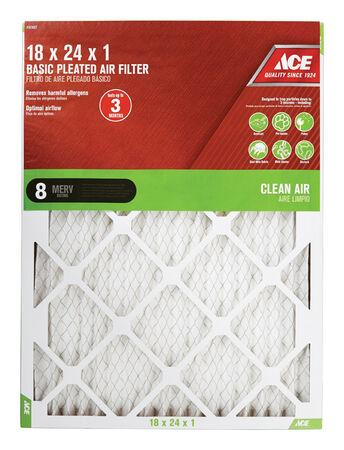Ace 24 in. L x 18 in. W x 1 in. D Pleated Air Filter 8 MERV