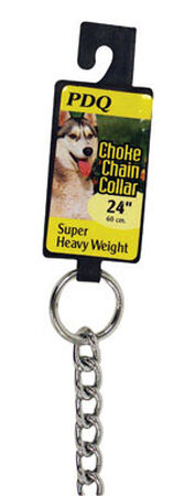 PDQ Chrome Steel 4 in. W Choke Chain Dog Collar