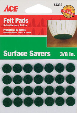 Ace Felt Round Self Adhesive Pad Green 3/8 in. W 28 pk