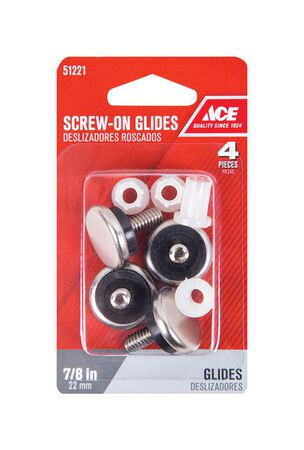 Ace 0.88 in. Dia. x 0.9 in. W Nickel Glide with Threaded Stem 4