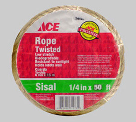 Ace 1/4 in. Dia. x 50 ft. L Twisted Sisal Rope Natural