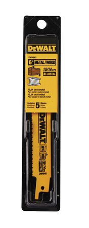 "6"" 10/14 TPI Straight Back Bi-Metal Reciprocating Blade (5 pack)"