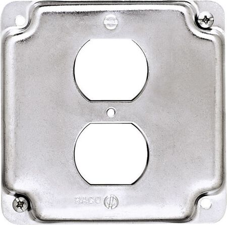 Raco Square Steel Electrical Cover For 1 Duplex Receptacle Gray