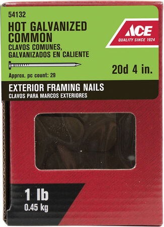 Ace Flat 4 in. L Framing Nail Smooth Hot-Dipped Galvanized Steel 1 lb.