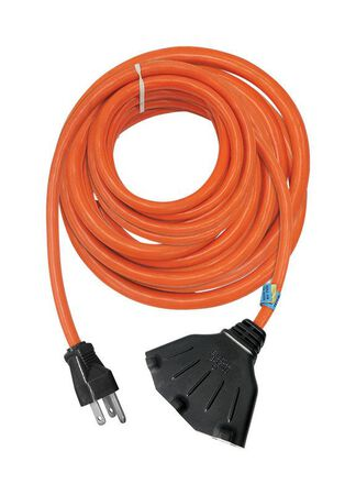 Ace Indoor and Outdoor Triple Outlet Cord 12/3 STW 100 ft. L Orange