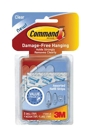3M Command Assorted Refill Adhesive Strips Plastic 5 lb. 16 pk