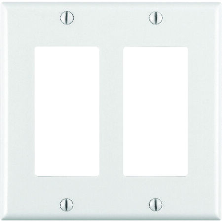 Leviton 2 gang White Thermoset Plastic Rocker/GFCI Wall Plate 1 pk