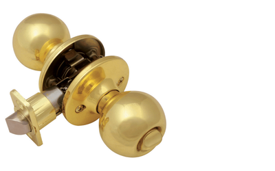 Pro Ball Bed and Bath Door Knob, Polished Brass
