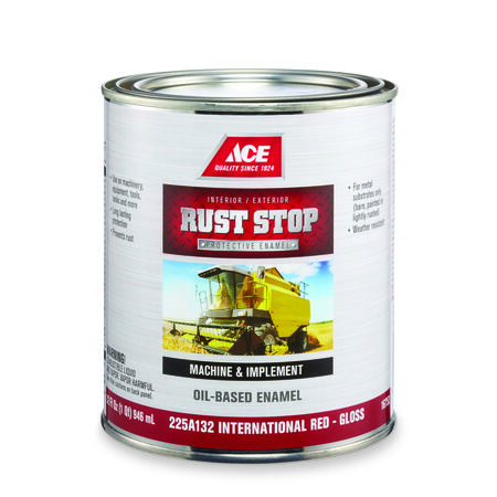 Ace Interior/Exterior Rust Stop Oil-based Enamel Paint International Red Gloss 1 qt.