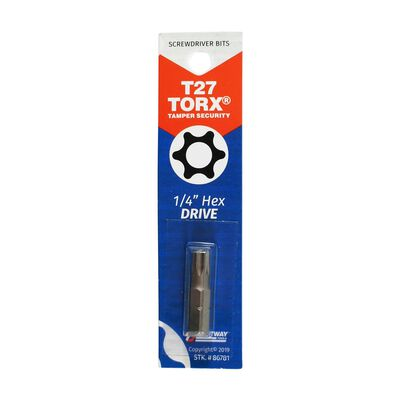 Best Way Tools T27 Torx Screwdriver Bit 1/4 in. Dia. x 1 in. L 1 pc.