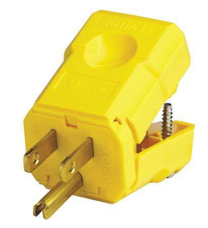 Leviton Industrial Nylon Grounding Python Plug 5-15P 18-10 AWG 2 Pole 3 Wire Yellow
