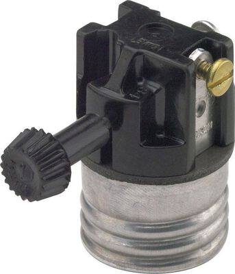 Leviton 250 watts 250 volts Turn Knob Socket Black