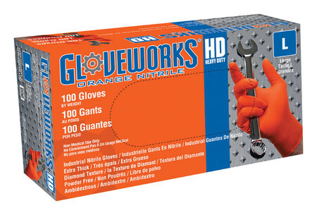 Gloveworks Nitrile Disposable Work Gloves Large 100 pk Orange