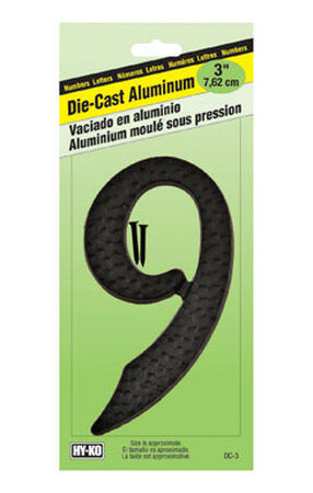 Hy-Ko Nail On Black Aluminum Number 9 3-1/2 in.