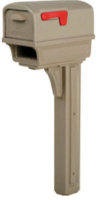 Solar Group Gibraltar Gentry Plastic Post Mounted Mailbox with Post Mocha 21-3/4 in. L x 50 i