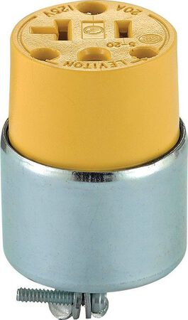 Leviton Commercial Armored Polarized Connector 5-20R 2 Pole 3 Wire Yellow