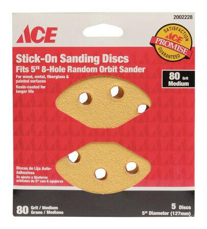 Ace 5 in. Dia. Sanding Disc 80 Grit Medium Adhesive 5 pk