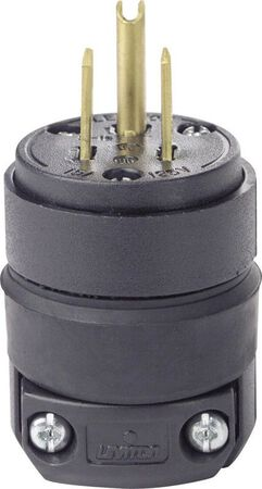 Leviton Commercial Rubber Grounding Polarized Plug 5-15P 18-12 AWG 2 Pole 3 Wire Black