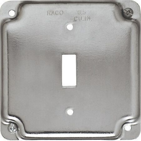 Raco Square Steel Electrical Cover For 1 Toggle Switch Gray