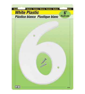 Hy-Ko Nail On White 6 in. Plastic Number 6