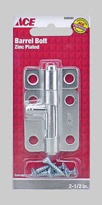 Ace Barrel Bolt 2-1/2 in. Zinc For Lightweight Doors Chests and Cabinets