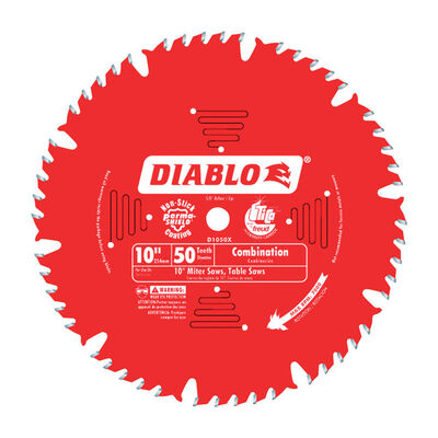 Freud Diablo 10 in. Dia. 50 teeth Carbide Tip Combination Saw Blade For Cutting Wood