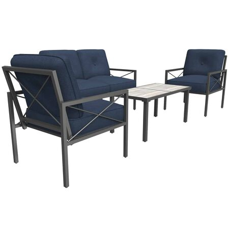 Living Accents Harrison 4 pc. Brown Steel Deep Seating Patio Set Navy Blue