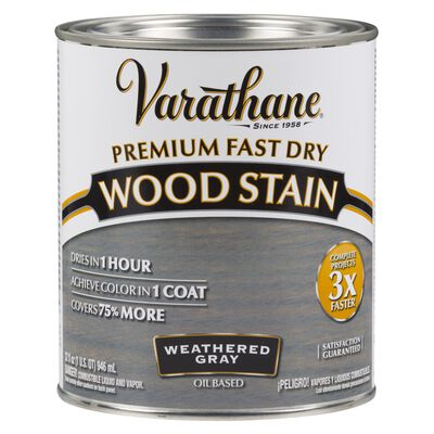 Varathane Premium Fast Dry Semi-Transparent Oil-Based Wood Stain Weathered Gray 1 qt.
