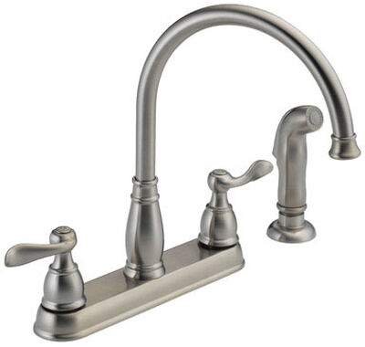 Delta Traditional Two Handle Stainless Steel Kitchen Faucet Side Sprayer Included
