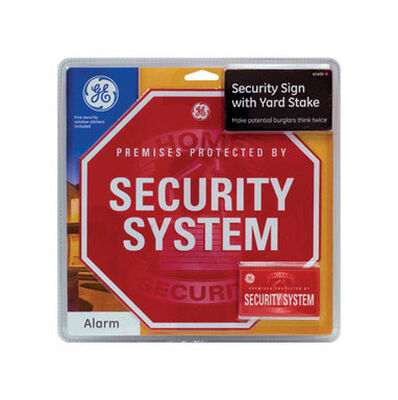 GE English 14-7/16 in. H x 10-5/8 in. W Steel Sign Premises Protected By Security System