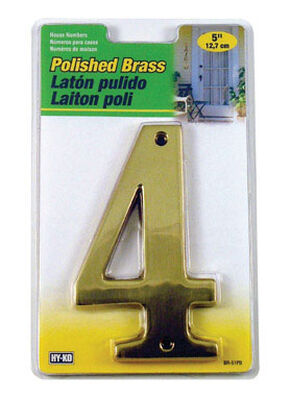 Hy-Ko Nail On Polished Brass Number 4 5 in.