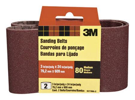 3M Sanding Belt 3 in. W x 24 in. L 80 Grit Medium 2 pk