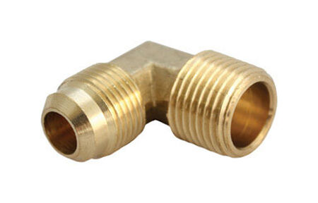 Ace 1/4 in. Dia. x 1/4 in. Dia. Flare To MPT To Compression 90 deg. Yellow Brass Elbow