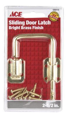 Ace Sliding Door Latch 1-1/2 in. Bright Brass Securing Metal or Wood Sliding Doors