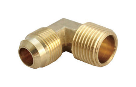 Ace 3/8 in. Dia. x 1/4 in. Dia. Flare To MPT To Compression 90 deg. Yellow Brass Elbow