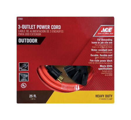 Ace Indoor and Outdoor Triple Outlet Cord 12/3 STW 25 ft. L Orange