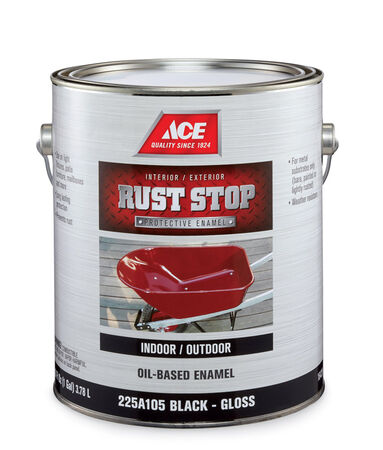 Ace Rust Stop Indoor and Outdoor Gloss Black Rust Prevention Paint 1 gal.