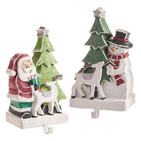 "9"" Santa and Snowman Stocking Holder"