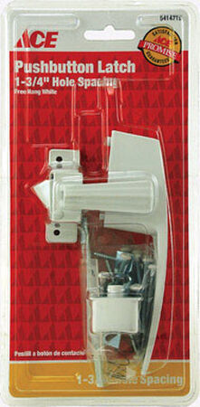 Ace Interior/Exterior Steel White Push Button Latch