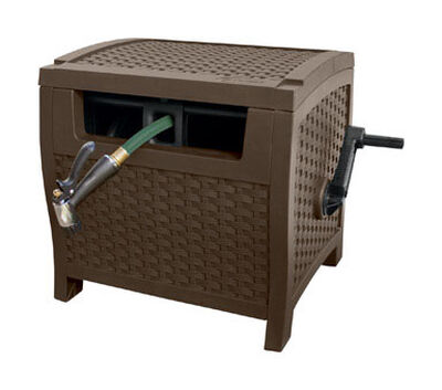 Suncast Smart Tube Hose Hideaway Stationary Hose Cabinet 175 ft. Brown