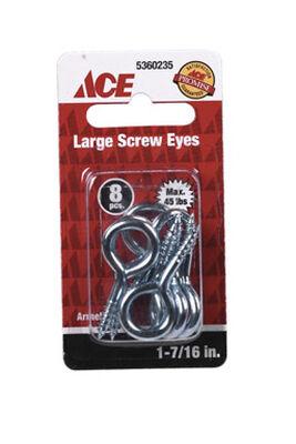 Ace 5/32 1-7/16 in. L Zinc-Plated Steel Screw Eye 8 pk