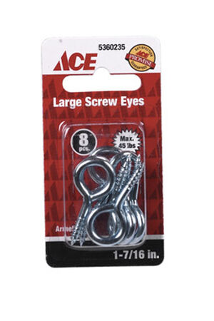 Ace 5/32 1-7/16 in. L Zinc-Plated Steel Screw Eye 8 pk