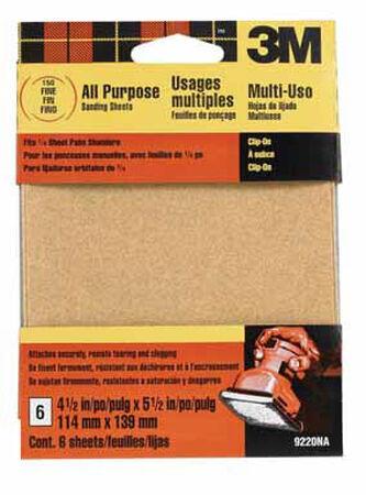 3M Aluminum Oxide 1/4 Sheet Sandpaper 5-1/2 in. L 150 Grit Fine 6 pk