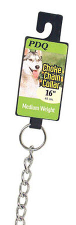 PDQ Chrome Steel Choke Chain Dog Collar 2.5 mm W 16 in.