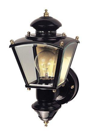 Heath Zenith Black Glass Motion Activated Coach Light Motion-Sensing A19 120 volts 100 watts