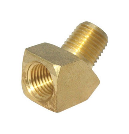 Ace 1/4 in. Dia. x 1/4 in. Dia. FPT To MPT To Compression 45 deg. Yellow Brass Street Elbow