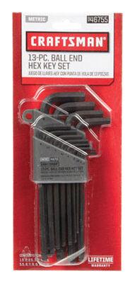 Craftsman Long and Short Arm Metric Standard Ball End Hex Key Set 13 pc.